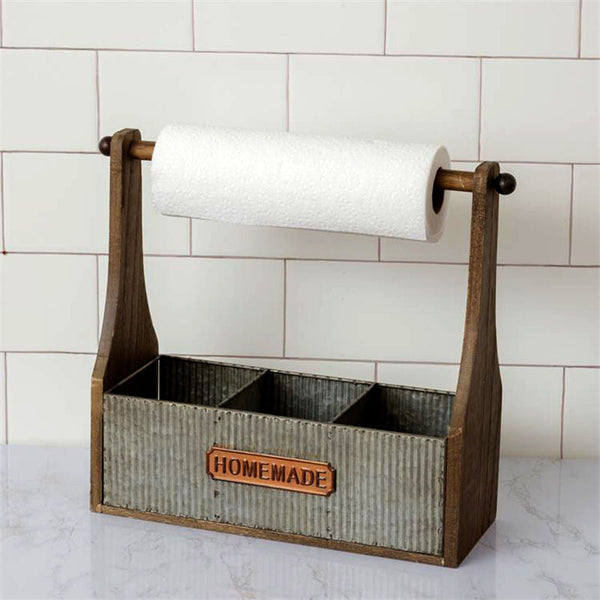 Galvanized Metal and Wood Divided Caddy Paper Towel Holder 8T1957