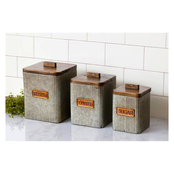 Galvanized Metal and Wood Kitchen Canisters 8T1903