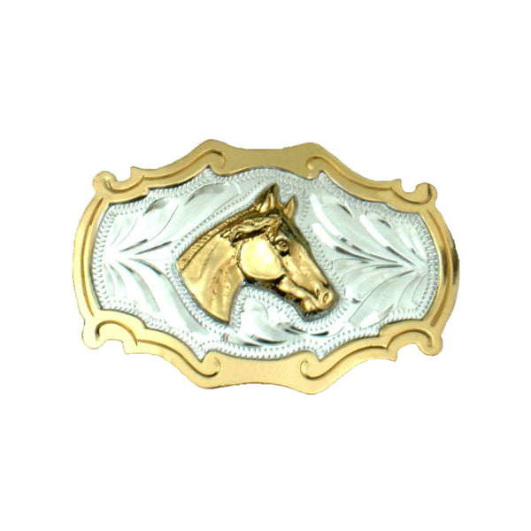 German Gold and Silver Horsehead Belt Buckle FR-817