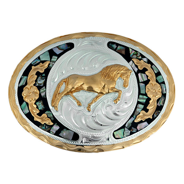 German Silver & Abalone Galloping Horse Belt Buckle FR-705