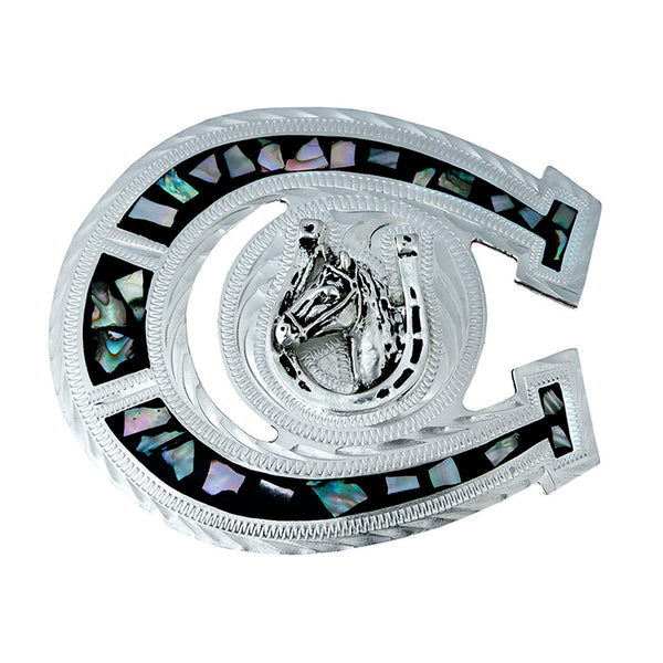 German Silver & Abalone Horseshoe Belt Buckle FR-706-S