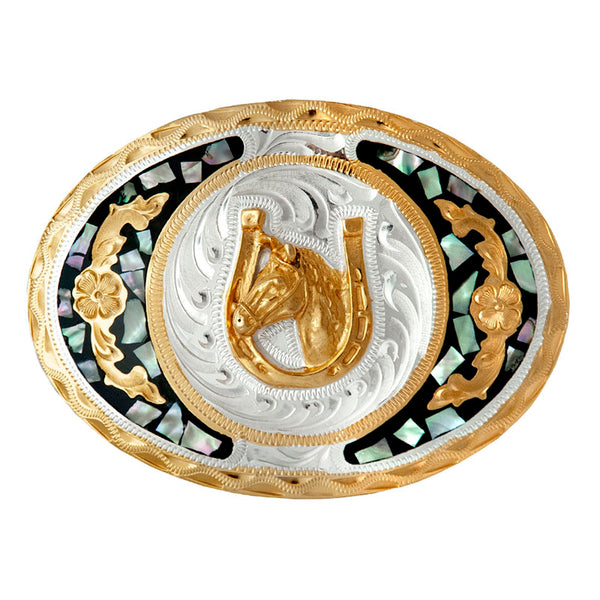 German Silver & Gold Abalone Horse Head Belt Buckle FR-707
