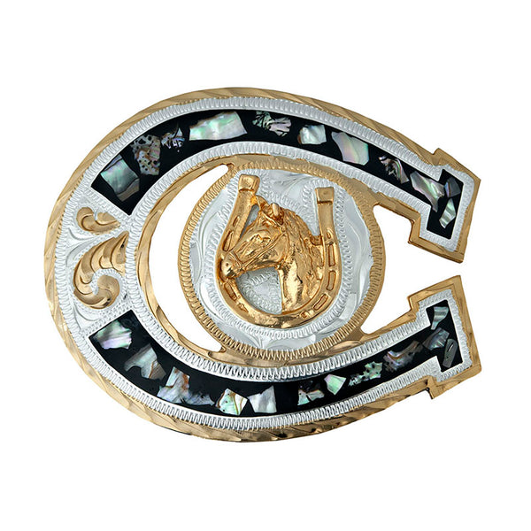 German Silver & Gold Abalone Horseshoe Belt Buckle FR-706-G