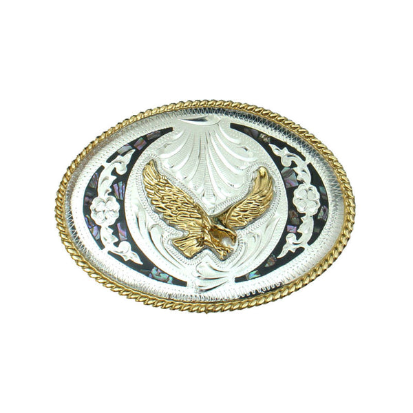 German Silver and Abalone Eagle Belt Buckle FR-810