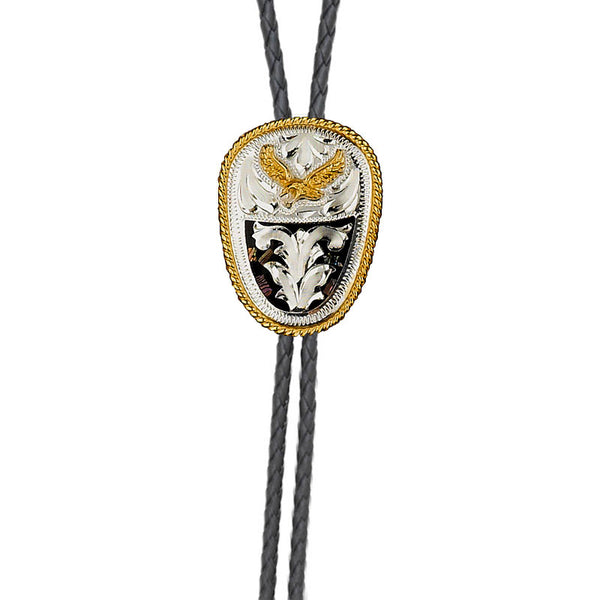 German Silver and Abalone Oval Eagle Bolo Tie BT-213