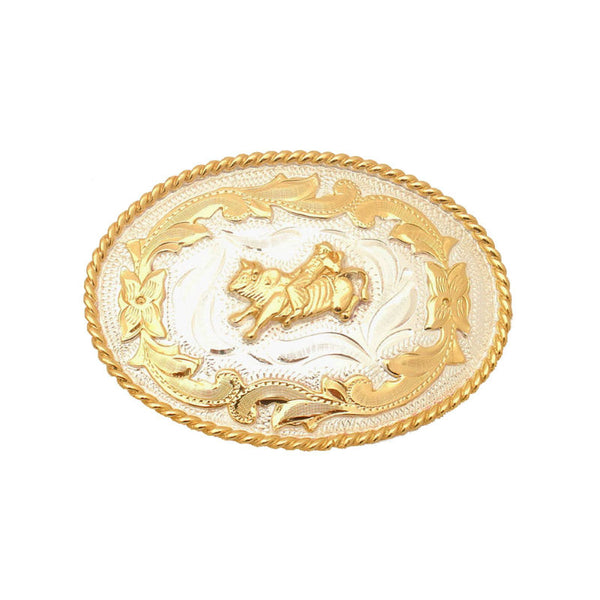 German Silver and Gold Bullrider Belt Buckle FR-808