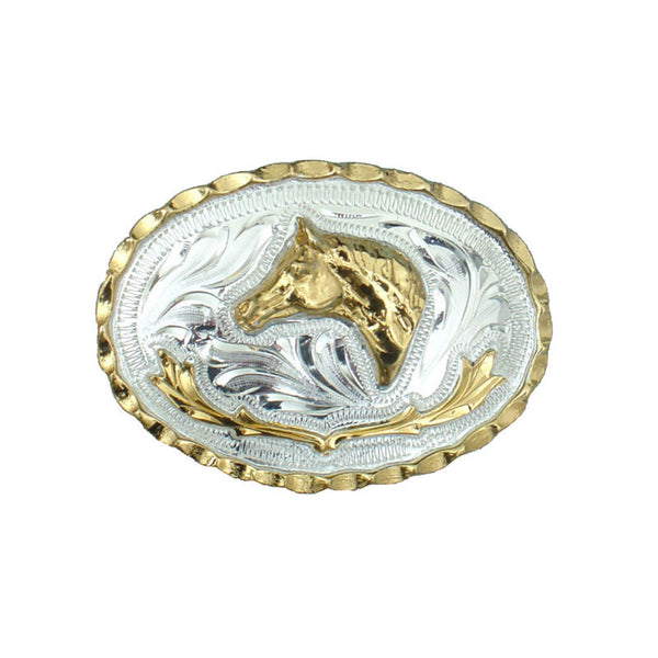 German Silver and Gold Horsehead Belt Buckle FR-802