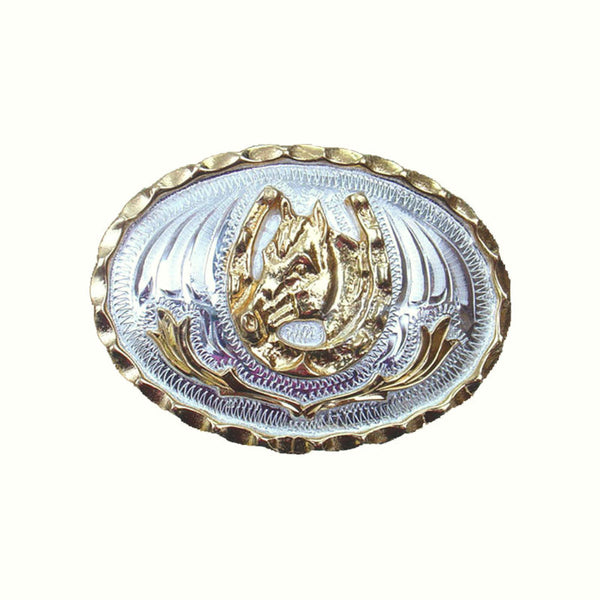 German Silver and Gold Horsehead Horseshoes Belt Buckle FR-805