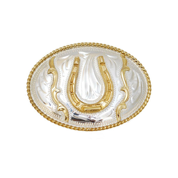 German Silver and Gold Horseshoe Belt Buckle FR-799