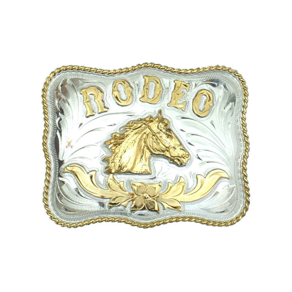 German Silver and Gold Rodeo Horse Belt Buckle FR-821