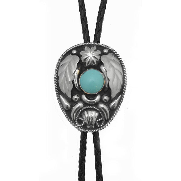 German Silver and Turquoise Bolo Tie BT-214