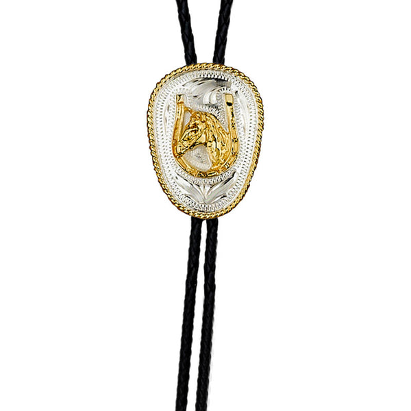 German Silver Horsehead and Horseshoe Bolo Tie BT-227