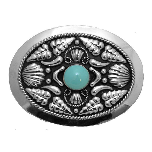 German Silver Turquoise Stone Belt Buckle FR-844