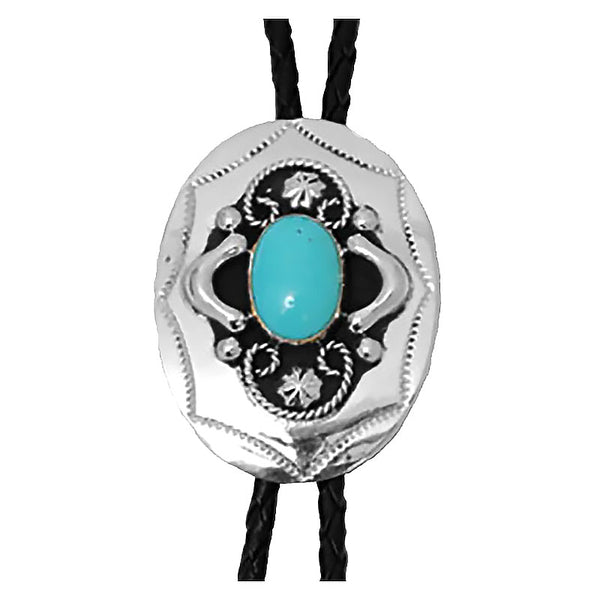German Silver with Turquoise Bolo Tie BT-202