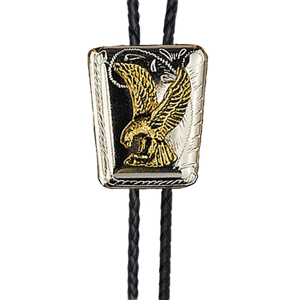 Gold and Silver Eagle Shield Bolo Tie BT-303