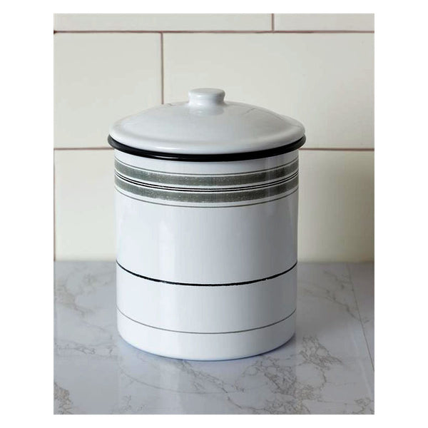 Gray Striped Enamelware Kitchen Canister 8T1792