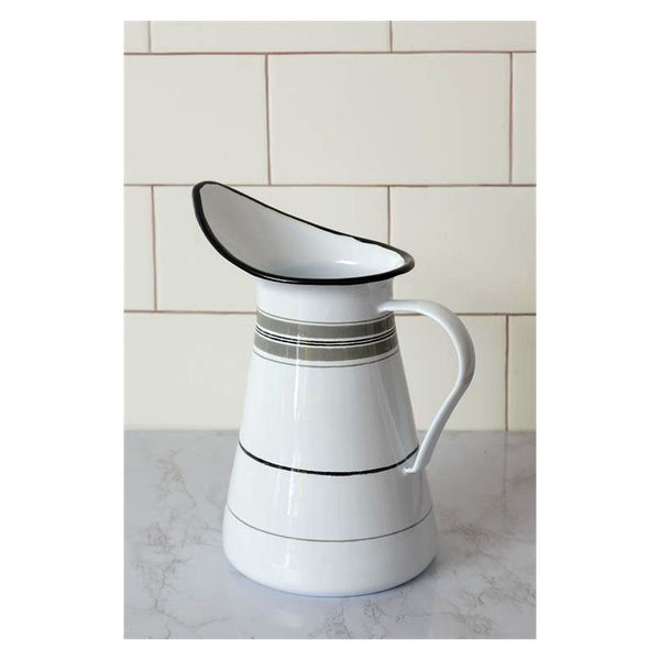 Gray Striped Enamelware Pitcher 8T1794