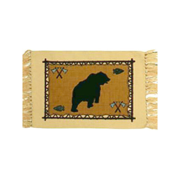Grizzly Bear Stencil Tapestry Placemat W-HIMAT71