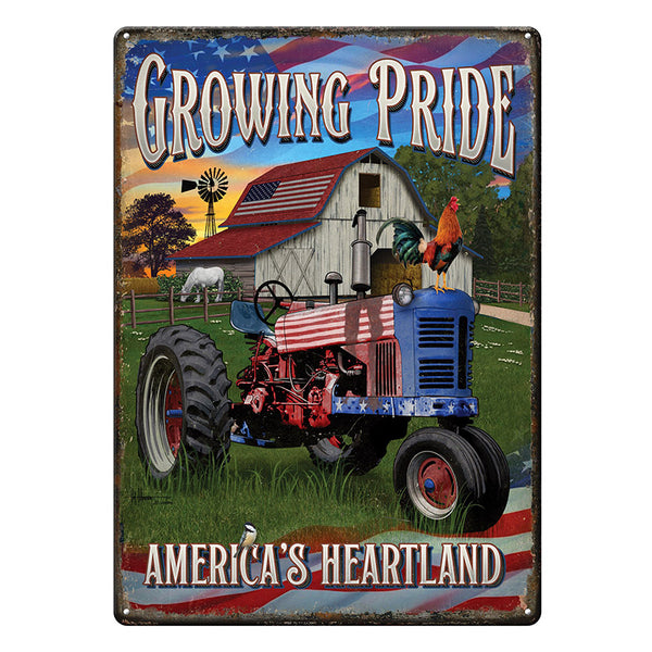 Growing Pride America's Heartland Farming Tin Sign 4513