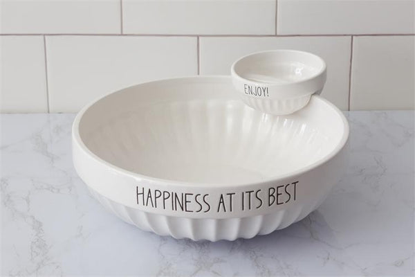 Happiness At Its Best Ceramic Chip and Dip Bowl Set 8PT1210