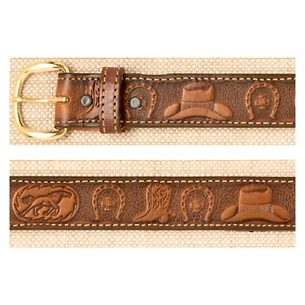Hats Boots and Horseshoes Brown Leather Belt XM-5404