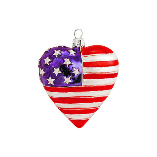 Heart Shaped American Flag Glass Ornament 1115667