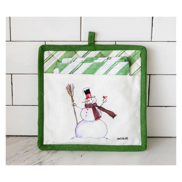 Home For The Holidays Snowman Pot Holder and Tea Towel Set 7FA1194