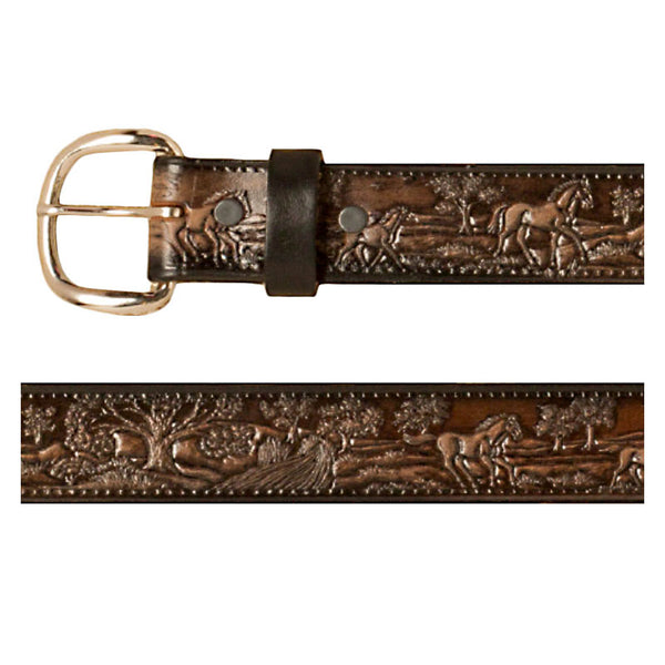 Horse Country Scene Brown Leather Belt XM-5523