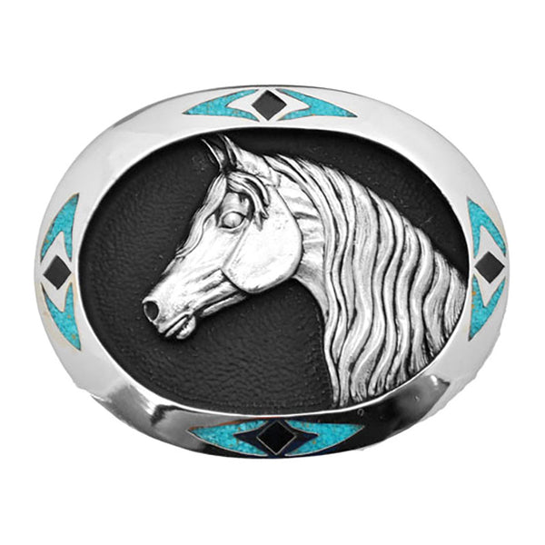 Horse Head Turquoise Enamel Belt Buckle S-4989