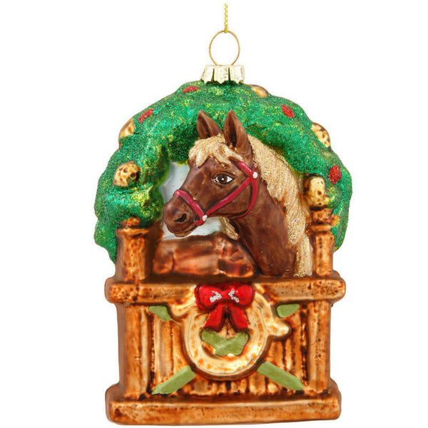 Horse In Stable Glass Ornament 1175457