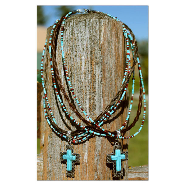 Horsehair Turquoise Cross Necklace N5-T