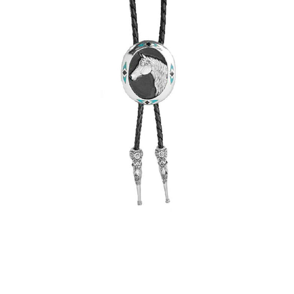 Horsehead and Turquoise Bolo Tie BT-263
