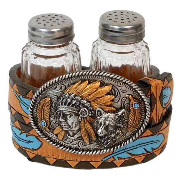 Indian Chief and Wolf Belt Buckle Salt and Pepper Shakers Set DEC-13784