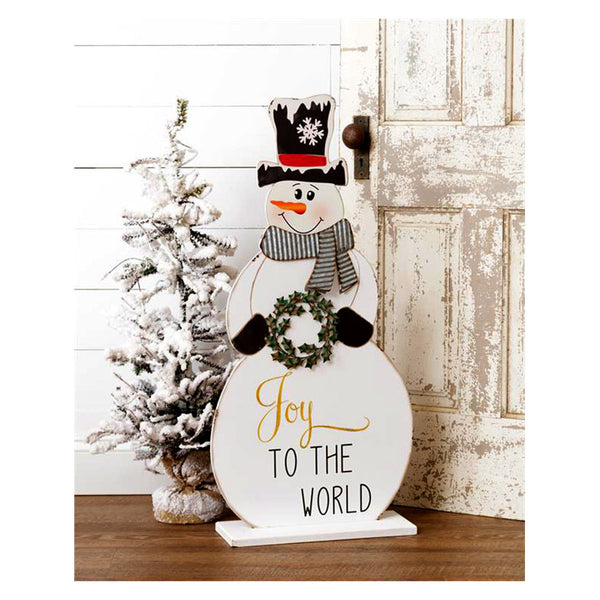 Joy To The World Standing Snowman Decor 7W3034