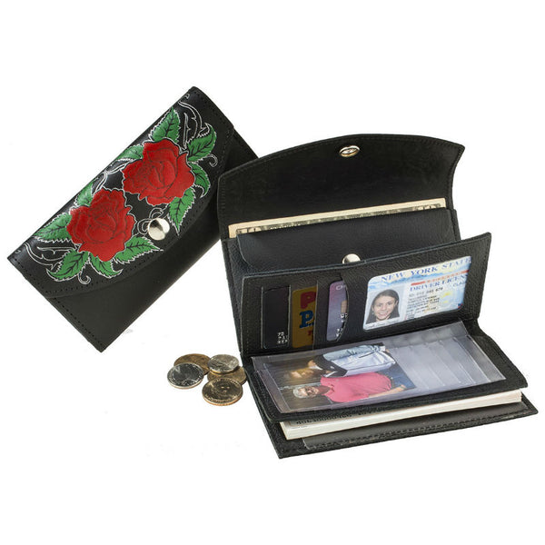 Ladies Black Roses Leather Organizer Wallet LW-705