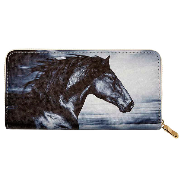 Ladies Black Stallion Horse Head Wallet LW-157