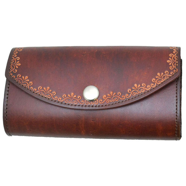 Ladies Brown Floral Stamped Leather Organizer Wallet LW-703
