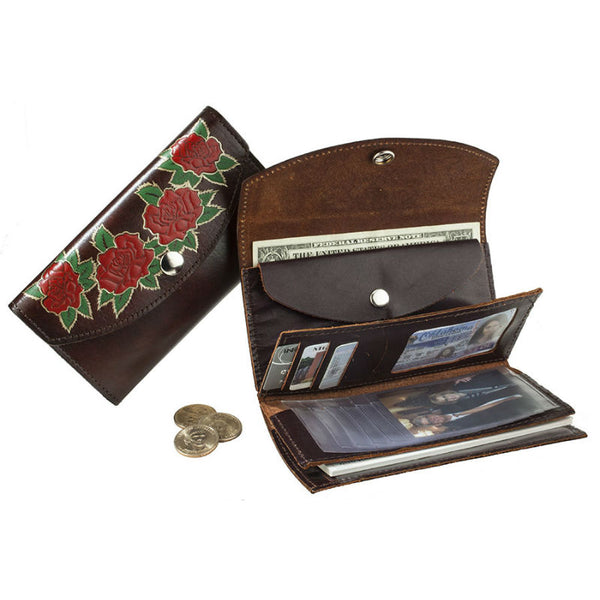 Ladies Brown Roses Leather Organizer Wallet LW-706