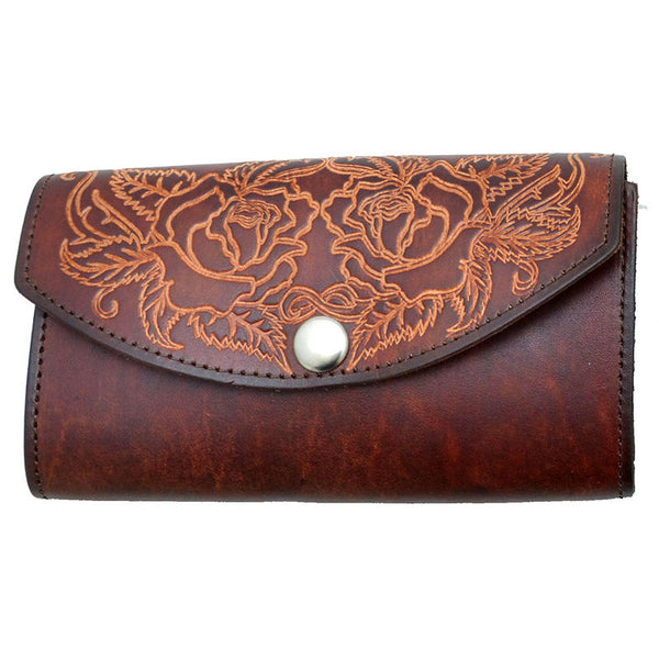 Ladies Brown Stamped Roses Leather Organizer Wallet LW-702