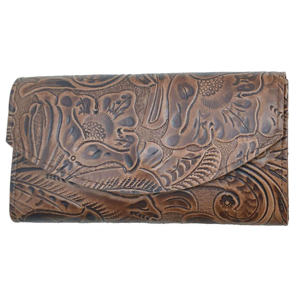 Ladies Brown Tooled Leather Organizer Wallet LW-822BR