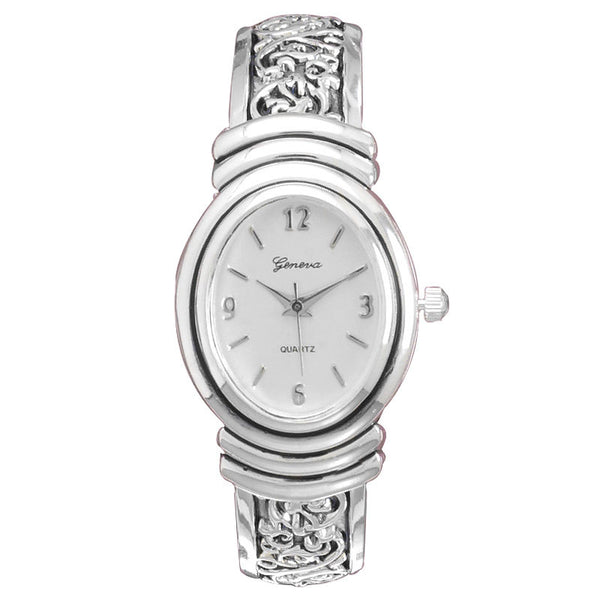 Ladies Oxidized Scroll Cuff Watch W9132