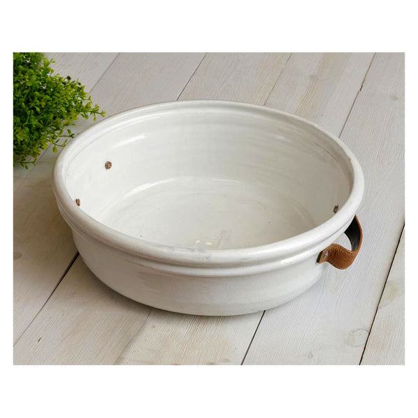 Large Ceramic Bowl with Leather Handles 8PT1325