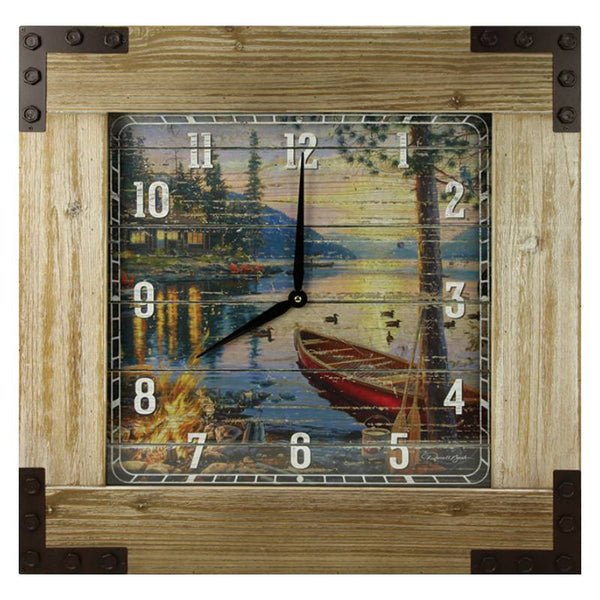 Large Lakeside Cabin Wooden Framed Clock 1176