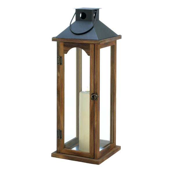 Large Wood and Metal Top Candle Lantern 10018495