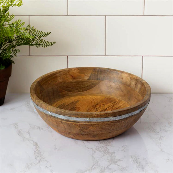 Large Wooden Bowl with Galvanized Band 8W2845