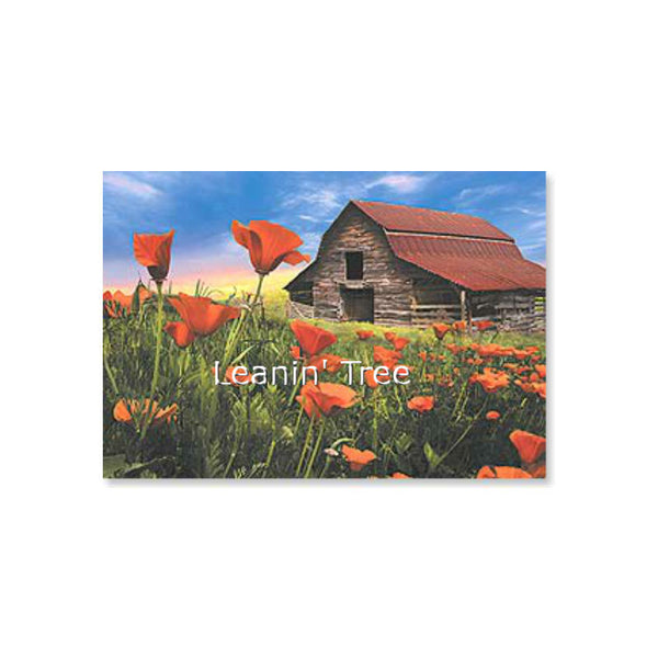 Leanin' Tree Barn In Poppies All Occasion Card 55298