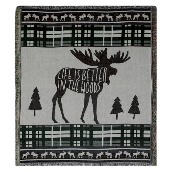 Life Is Better In The Woods Moose Tapestry Throw Blanket 2614