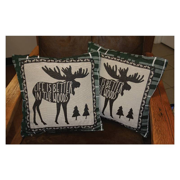 Life Is Better In The Woods Moose Tapestry Pillows 2604