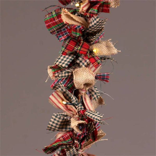 Lighted Homespun Cloth Garland 8FA1004