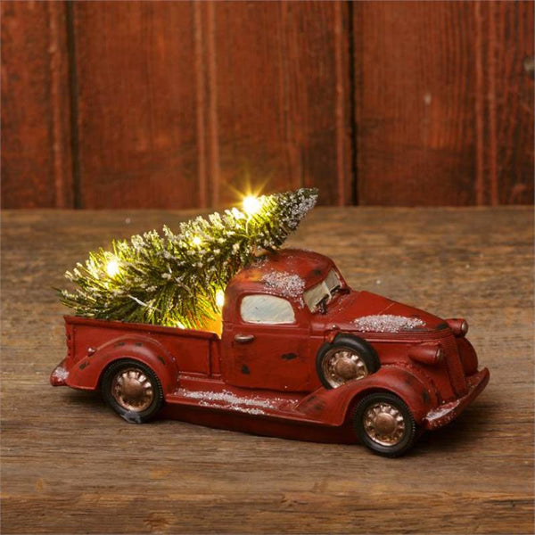 Lit LED Red Truck With Christmas Tree 7RS793
